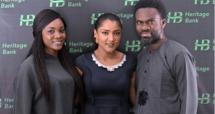 From right: Fela Ibidapo, Group Head, Corporate Communications, Heritage Bank Plc; Omobolaji Mogaji, Media Sales Executives at Multichoice and Gifty Powers, Big Brother Naija's housemate, during her visit to the bank's head office in Victoria Island, Lagos, weekend.