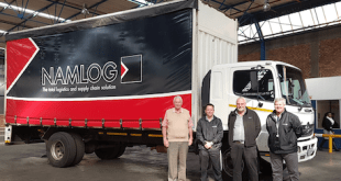 From left: Garth Middleditch, Sales Executive at Hino East Rand; Albie Greyvenstein, Namlog's National Fleet Manager; Leslie Long, Hino SA's Senior Manager - Marketing, Product, and Demand Planning; and Christo Swartz, CEO of Namlog, with Namlog's Hino 1324 freight carrier that has covered more than 2.3-million kilometres