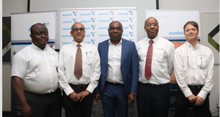 From left : Charles Oranusih, Chief Production Chemist, Eunisell Ltd; Ramesh Hullur, CEO, Eunisell Ltd; Chika Ikenga, GMD, Eunisell Ltd; Charles Etuk, Chief Financial Officer, Eunisell Ltd; and Iain Fraser, CEO, Eunisell Ghana, at the seminar organised by Eunisell Ltd in partnership with Lubrizol South Africa in Lagos…Friday, September 22, 2017.