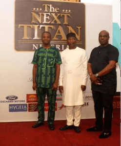 From left:   Brand Manager Ford, Coscharis Motors Plc, Mr. Felix Mahan;   Executive Producer, The Next Titan, Mr Mide Kunle-Akinlaja, and the General Manager, Marketing & Corporate Communications, Coscharis Group, Mr. Abiona Babarinde, at the premiere event of the Season 4 of The Next Titan entrepreneurial reality TV show, co-sponsored by Ford and Coscharis Motors Plc. in Lagos…recently