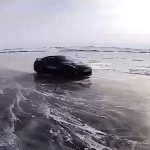 Photo of the Nissan GT-R after breaking ice speed record in Russia
