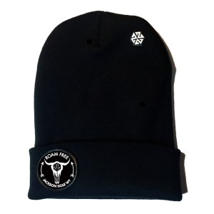 avalon7 roam free bison patch long cuff beanie jackson hole, wy
