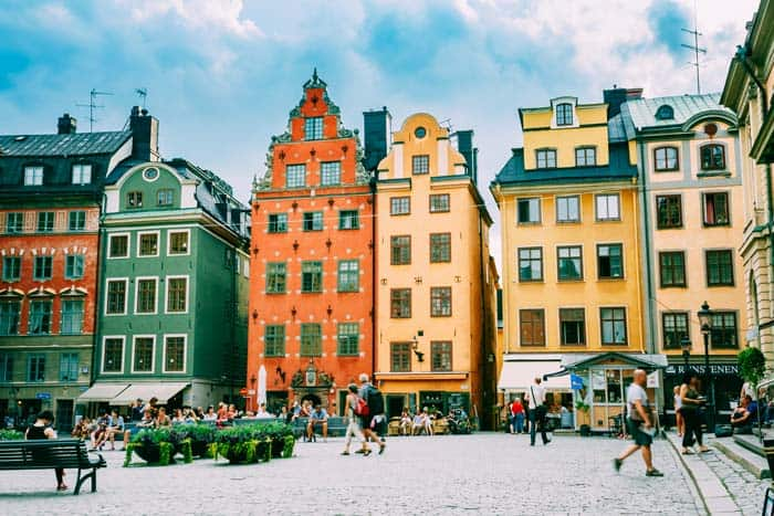 Stortorget place in Gamla Stan, Stockholm! Click through to see some of the most colorful cities in the world! This post does not contain industrial soot stained cities; instead it showcases some of the most vibrant looking cities in the world.