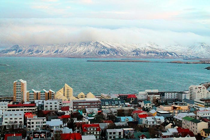Ocean and mountain view in Reykjavik, Iceland.