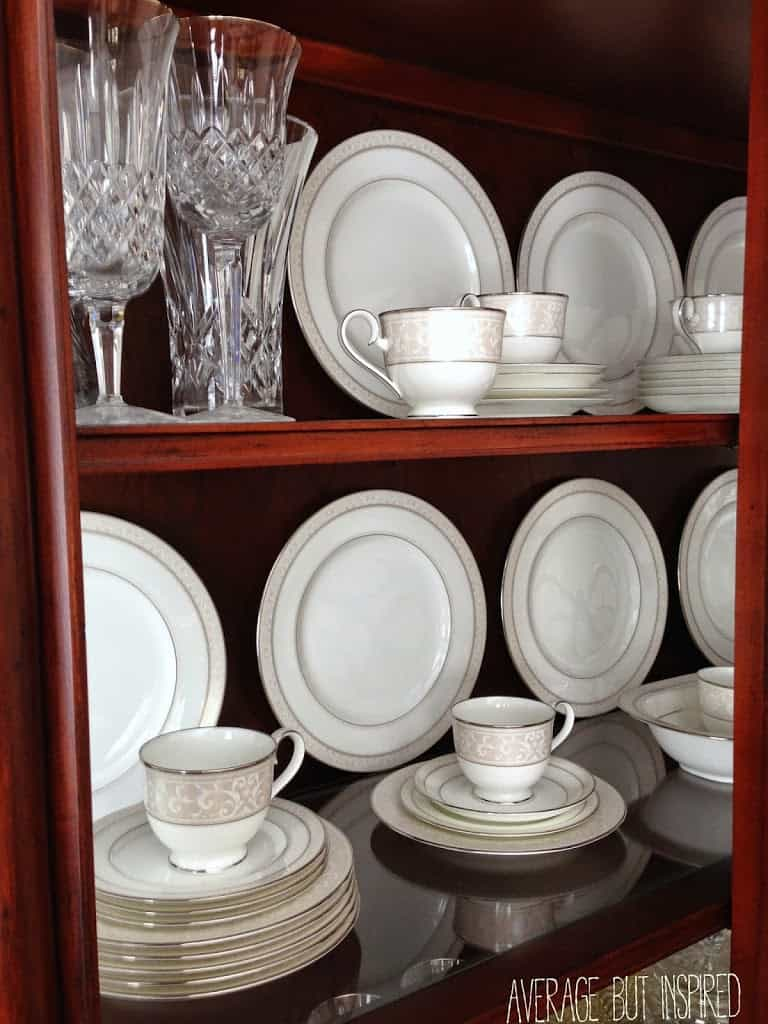 A free dining room update makes a million dollar impact for Arranging dishes in kitchen cabinets