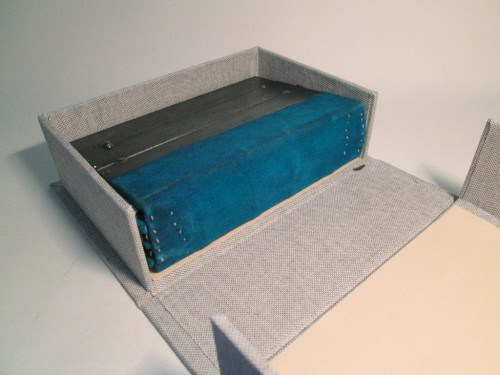 Clamshell box for Coptic-inspired book