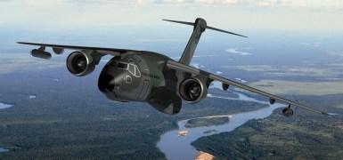 Concepção artística do KC-290, aeronave cargueira e de reabastecimento aéreo da Embraer. Imagem: Embraer.