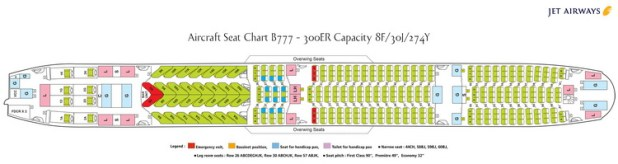 Jet Airways Airlines Boeing 777 300er Aircraft Seating Chart