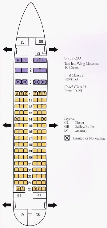 Boeing 737 200 Delta Airlines Seating Chart