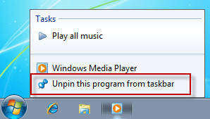 Taskbar windows 7 unpin