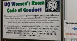 UQ women's room poster misandry