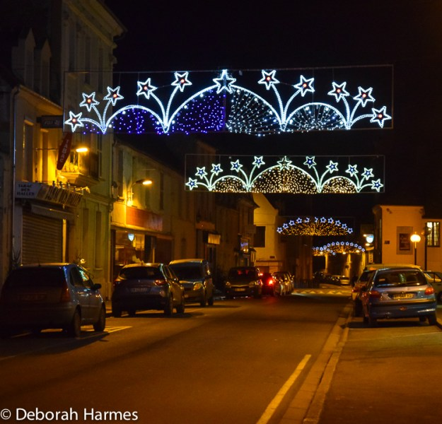 Christmas lights in Saint-Pierre-sur-Dives in the Calvados region of Normandy, France.