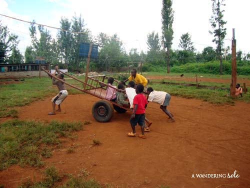 Kids Playing on the Cart