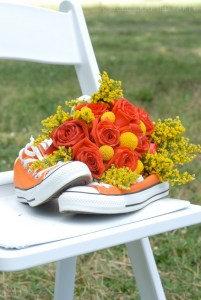 Converse Shoes and Wedding Bouquet