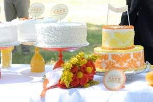 Orange and Yellow Wedding Cake Table