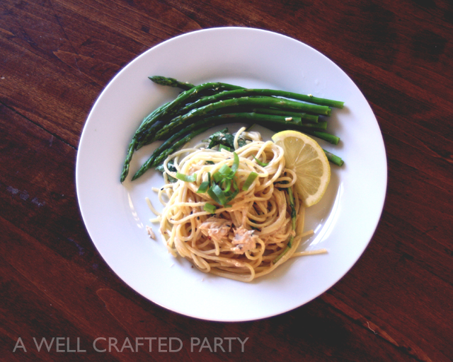 Sesame Noodles, Arugula, Oregon Tuna, and Asparagus