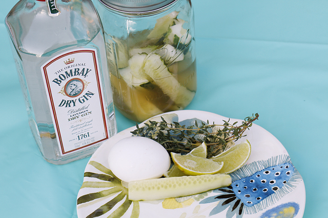 Gin Fizz Cocktail with Quick Pickle Recipe // A Well Crafted Party