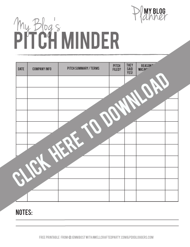 Free Printable Pitch Minder in Black & White // A Well Crafted Party