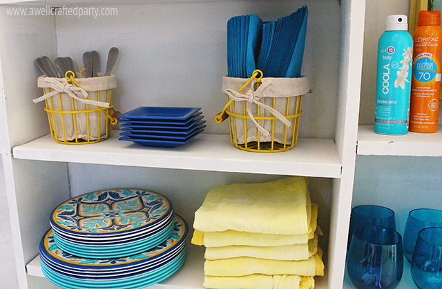 All my outdoor entertaining items fit so nicely on my outdoor bookshelf!