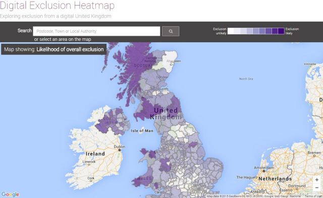 A static image of the Digital Exclusion Heatmap