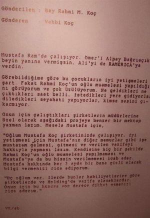 Vehbi Koçun Rahmi Koça mektubu