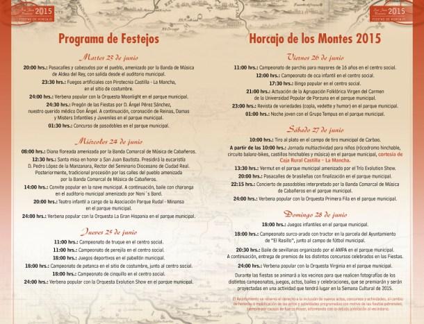 Programa de enventos de las fiestas de San Juan 2015