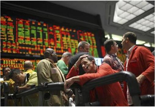 Trader Jeff Feldman works in the S&P 500 pit at the Chicago Mercantile Exchange; 15 September, 2008