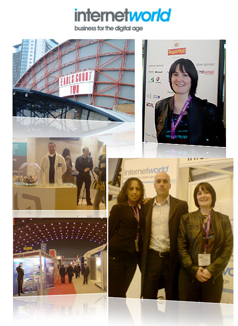 Internet World 2008. Bottom-right picture shows Yagmur Guven and Dan Powell from CJ with Sinead Hernon from Azam Marketing (right)