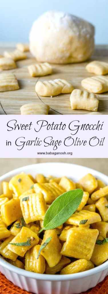 Homemade Sweet Potato Gnocchi from scratch tossed in a fragrant Garlic Sage Olive Oil. You will never want to eat store bought gnocchi again! From www.babaganosh.org