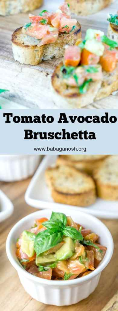 This Tomato Avocado Bruschetta is a delicious twist on the classic bruschetta. The creamy avocado pairs perfectly with the fresh tomatoes, basil, and parsley. Serve this over toasted baguettes for the perfect appetizer. From http://www.babaganosh.org