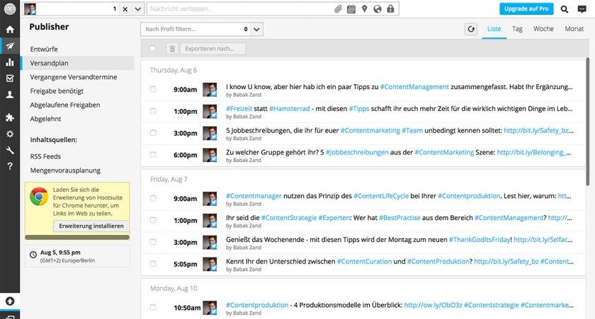 Dashboard Hootsuite