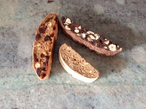 A few biscotti flavor varieties in my repertoire (there are many, many more) - From L to R Almond Hazelnut Biscotti, Espresso Biscotti and Chocolate Hazlenut Biscotti