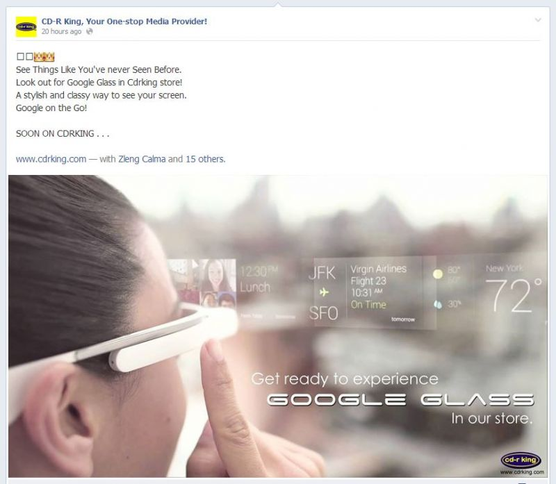 cd r king will sell google glass in the philippines back2gaming. Black Bedroom Furniture Sets. Home Design Ideas