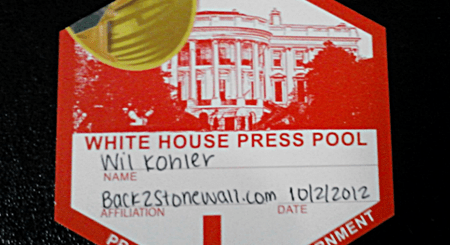 Back2Stonewall White House  Press Pool Pass