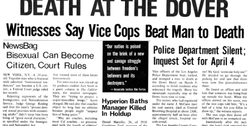 Howard Efland beaten to death at the Dover Hotel March 9. 1969
