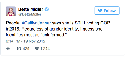 Better Midler goes after Caitlyb Jenner.