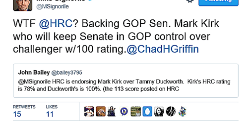 HRC Endorses Republican Kirk Over Dem Duckworth