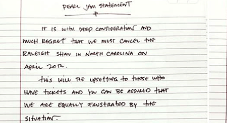 Pearl Jam Statment