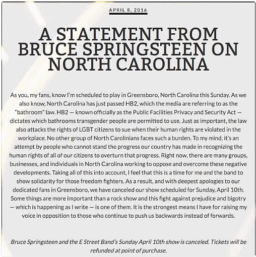Sprinsteen NC Statement