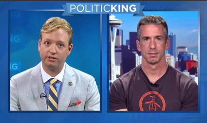 Dan Savage (r) tells Gregory T. Angelo (l) and LCR's to stop licking Trump's ass