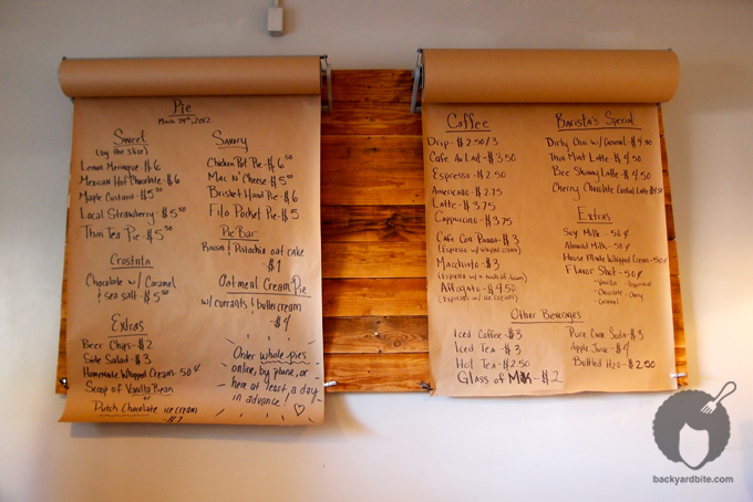 Daily changing menu @ The Pie Hole Los Angeles