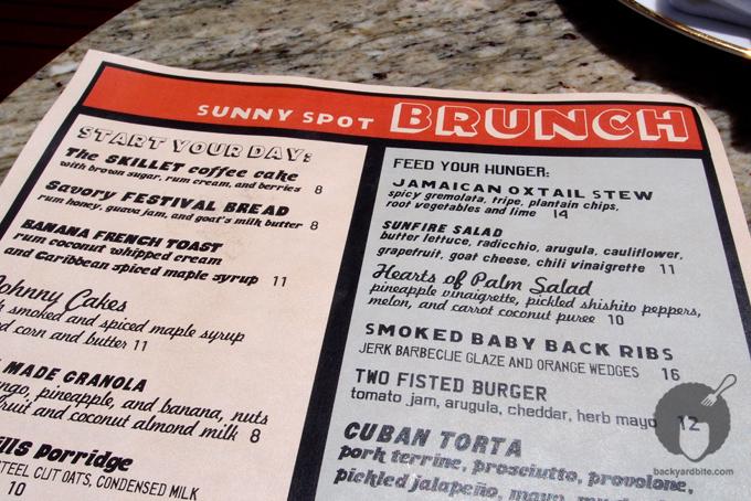 Brunch menu @ Sunny Spot