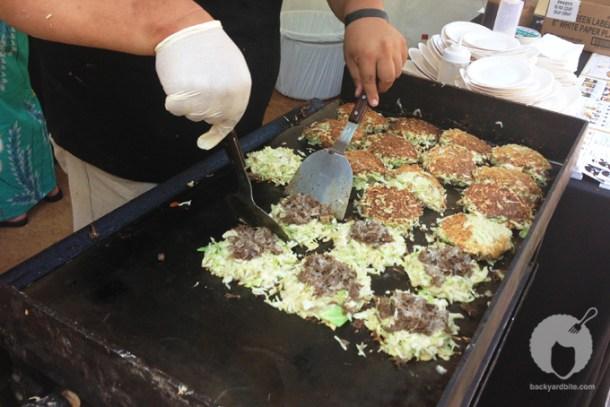 Okonomiyaki being made!
