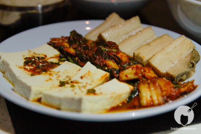 Steam Room - (Yummy and tender!) Beer Braised Pork Belly, sauteed kimchee, steamed tofu