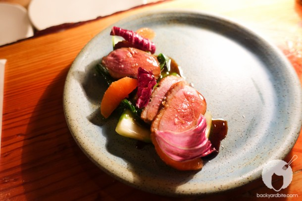 """Yum ped yang"" Peking duck breast, bok choy, cara cara oranges, black vinegar"