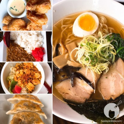 fried shrimp, curry pork, mapo tofu, pork dumplings, tonkotsu shoyu ramen