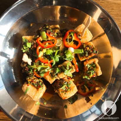 Fried TOFU -Crispy Ota tofu served with a ginger and black vinegar sauce. Vegan and Gluten free