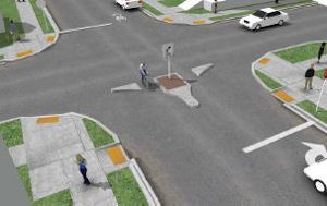 Design options for the Floyd Bicycle Boulevard include car diverters like this...
