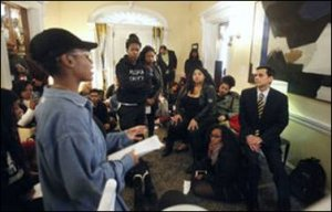 Black VCU students talking to President Michael Rao. Photo credit: Richmond Times-Dispatch.