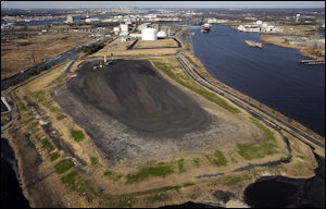 Coal ash pond at the Chesapeake Energy Center